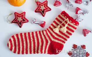 Рождественский носок крючком мастер класс